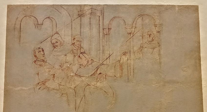 Co nám připomíná nedokončená freska v kapli?